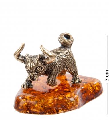 AM- 758 Фигурка  Кот-Телец   латунь, янтарь