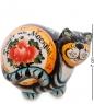 ГЛ-366 Фигурка  Кот-Колобок  цв.  Гжельский фарфор