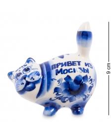 ГЛ-371 Фигурка «Кот-Пузан»  Гжельский фарфор