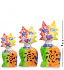 99-254 Фигурка  Кошка  н-р из трех 17,15,12 см  албезия, о.Бали