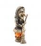 AM- 789 Фигурка  Баба Яга в ступе   латунь, янтарь