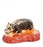 AM- 791 Фигурка  Бегемотик   латунь, янтарь