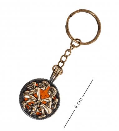 AM- 812 Брелок  Знак зодиака-Близнецы   латунь, янтарь