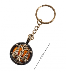 AM- 813 Брелок «Знак зодиака-Весы»  латунь, янтарь