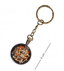 AM- 814 Брелок Знак зодиака-Водолей  латунь, янтарь