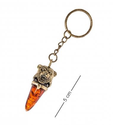 AM- 827 Брелок  Клык медведя   латунь, янтарь