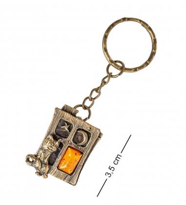 AM- 829 Брелок  Кот в окошке   латунь, янтарь