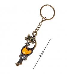 AM- 836 Брелок «Кошка гламурная»  латунь, янтарь