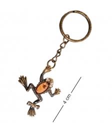 AM- 844 Брелок «Лягушка с бантиком»  латунь, янтарь