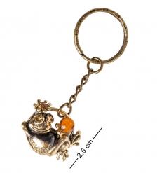 AM- 846 Брелок «Лягушка с шариком»  латунь, янтарь