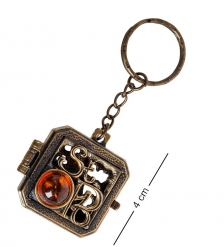 AM- 849 Брелок «Медальон СПБ»  латунь, янтарь