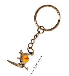 AM- 853 Брелок «Мышь Ушастик с сыром»  латунь, янтарь