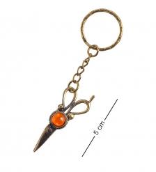 AM- 856 Брелок Ножницы  латунь, янтарь