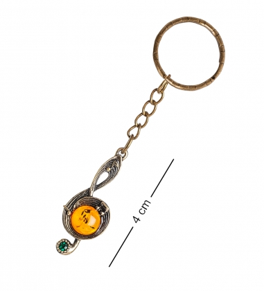 AM- 857 Брелок  Нотка   латунь, янтарь