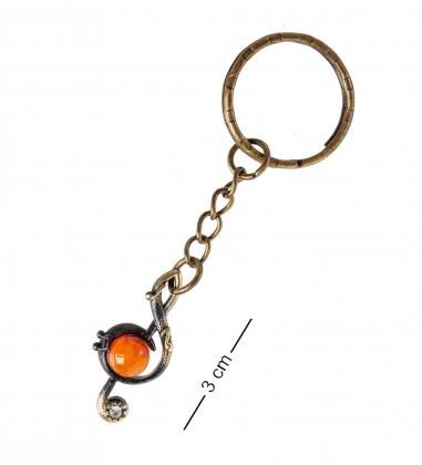 AM- 859 Брелок  Скрипичный ключ   латунь, янтарь