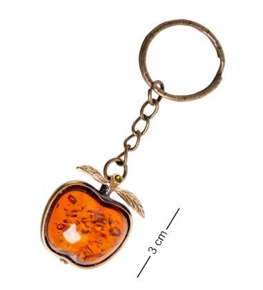 AM- 865 Брелок  Яблоко   латунь, янтарь