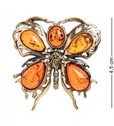 AM- 868 Брошь  Бабочка Бархатница   латунь, янтарь