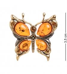 AM- 869 Брошь  Бабочка   латунь, янтарь