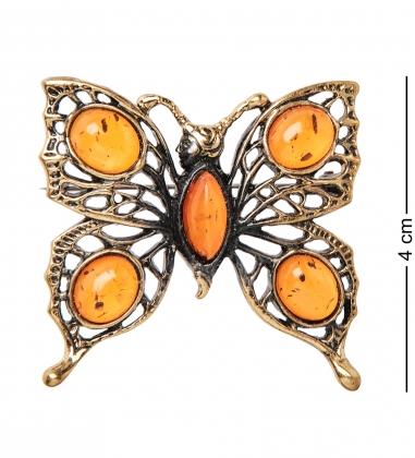 AM- 870 Брошь  Бабочка   латунь, янтарь
