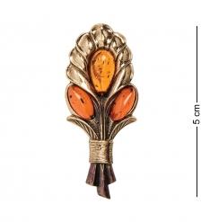 AM- 878 Брошь  Букет весенний   латунь, янтарь