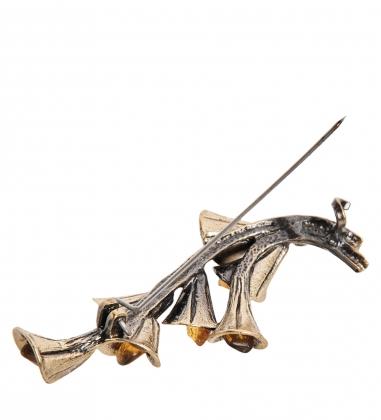 AM- 879 Брошь  Букет Калл   латунь, янтарь