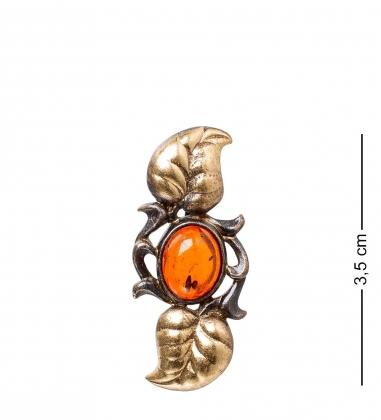 AM- 894 Брошь  Вьюнок   латунь, янтарь