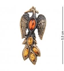 AM- 898 Брошь  Жар-птица   латунь, янтарь