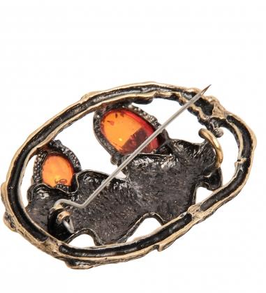 AM- 899 Брошь  Желуди   латунь, янтарь
