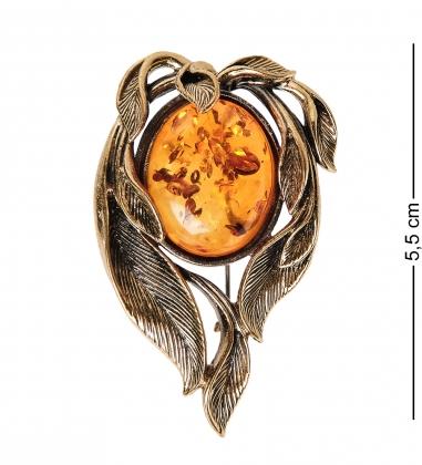 AM- 905 Брошь  Ивушка   латунь, янтарь