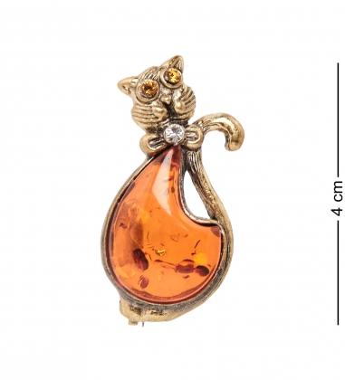 AM- 908 Брошь  Кот с бантиком   латунь, янтарь
