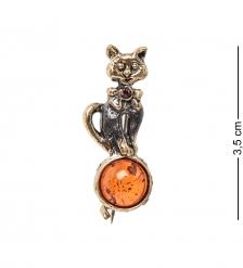 AM- 910 Брошь  Котёнок на шаре   латунь, янтарь