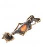 AM- 913 Брошь  Кошечка жеманная   латунь, янтарь