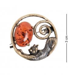 AM- 915 Брошь  Кошечка   латунь, янтарь