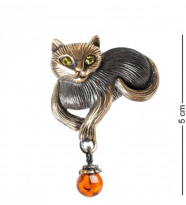 AM- 916 Брошь  Кошка   латунь, янтарь