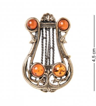 AM- 924 Брошь  Лира   латунь, янтарь