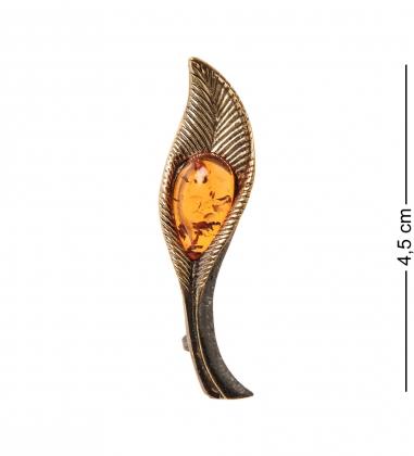 AM- 927 Брошь  Листик осенний   латунь, янтарь