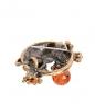 AM- 929 Брошь  Лягушка с шариком   латунь, янтарь