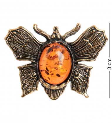 AM- 933 Брошь  Мотылек   латунь, янтарь