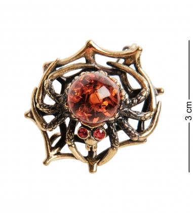 AM- 936 Брошь  Паук на паутине   латунь, янтарь