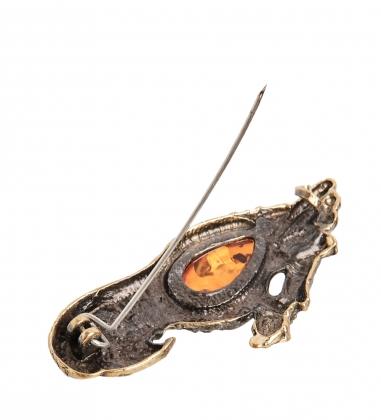 AM- 941 Брошь  Попугай Кеша   латунь, янтарь