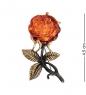 AM- 943 Брошь  Розочка   латунь, янтарь