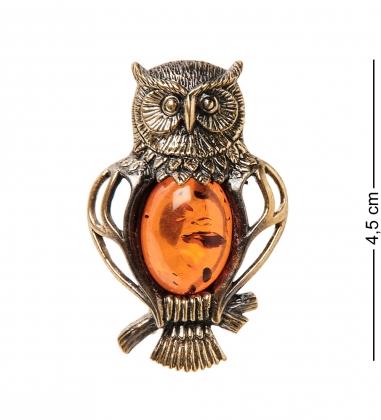 AM- 946 Брошь  Сова Мудрая   латунь, янтарь