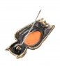 AM- 954 Брошь  Филин Мудрый   латунь, янтарь