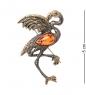 AM- 955 Брошь  Фламинго   латунь, янтарь