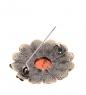 AM- 957 Брошь  Хризантема с пчелкой   латунь, янтарь