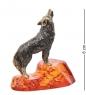 AM- 969 Фигурка  Волк, воющий на луну   латунь, янтарь