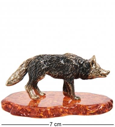 AM- 971 Фигурка  Волк   латунь, янтарь