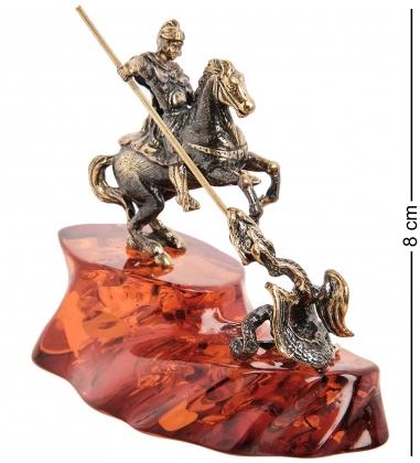 AM- 972 Фигурка  Георгий Победоносец   латунь, янтарь