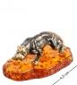 AM- 973 Фигурка  Гепард   латунь, янтарь