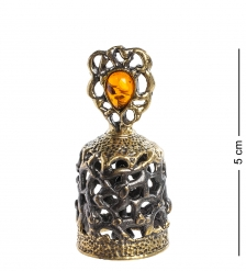 AM-1003 Фигурка  Колокольчик-Брызги шампанского   латунь, янтарь